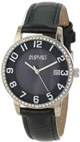 August Steiner Women's AS8056BK Swiss Quartz Mother-Of-Pearl Crystal Leather Strap Watch