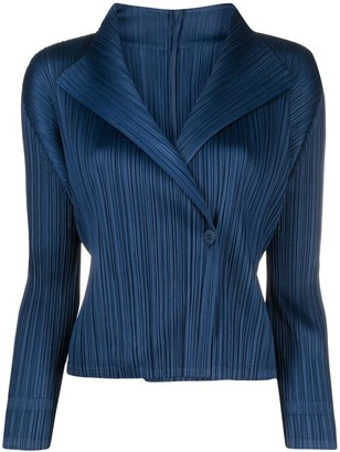 Pleats Please Issey Miyake Plisse Wrap-Front Blouse
