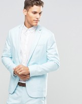Asos Slim Blazer in Washed Cotton in Blue