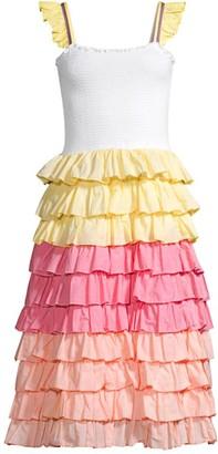 Pitusa Smocked Ruffle Midi Dress