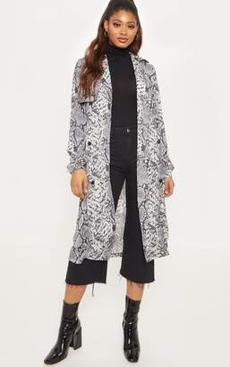 PrettyLittleThing Tall Grey Snake Print Trench Coat