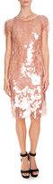 Givenchy Large-Sequin Short-Sleeve Cocktail Dress, Skin