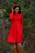 Shabby Apple Fit & Flare Tinsel Red Dress