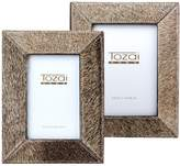 Twos Company Natural Cowhide Photo Frames (Set of 2)