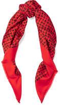 Balenciaga Printed Silk-twill Scarf - Red