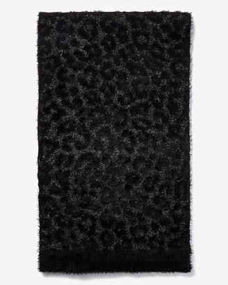 Express Fuzzy Faux Fur Leopard Oblong Scarf