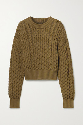 Proenza Schouler White Label Button-detailed Cable-knit Wool And Cotton-blend Sweater - Army green