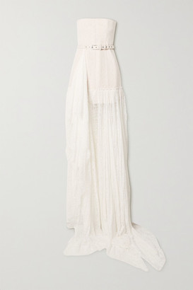 DANIELLE FRANKEL Delphine Strapless Belted Corded Lace Gown - White