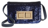 Street Level Sequin Flap Crossbody Bag - Blue