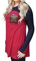VintageRose Women's Color Block Long Sleeve Pocket Casual Tops T Shirt Blous