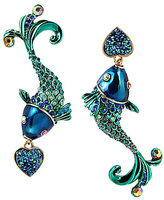 Betsey Johnson Mismatched Fish Drop Statement Earrings