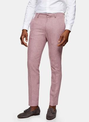 Topman Pink Slim Fit Warm Handle Suit Trousers