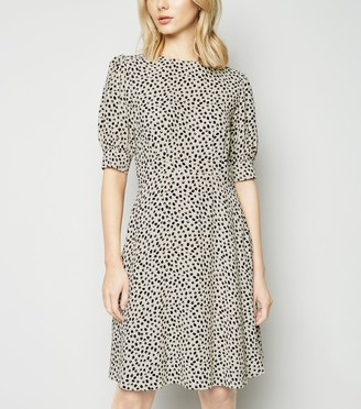 New Look Off Spot Puff Sleeve Tea Dress