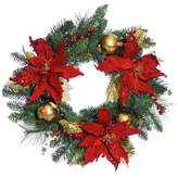 Large Red Poinsettia Gold Ball Faux Wreath