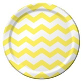 Mimosa Yellow Chevron Stripes Disposable Plates - 8 Count