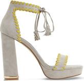 Dune Maggy whipstitch suee platform sandals
