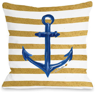 """Anchor Gold Stripes, White Gold Blue, 18""""x18"""" Pillow by Timree"""