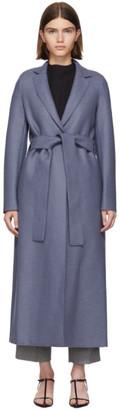 Harris Wharf London Blue Pressed Wool Belted Coat