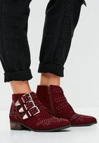 Missguided Burgundy Faux Suede Multi Buckle Ankle Boots, Red