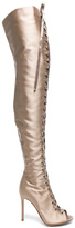 Gianvito Rossi Satin Marie Lace Up Boots in Neutrals.