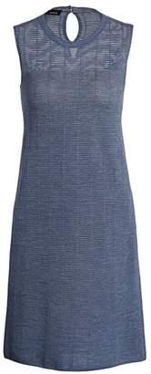 Akris Sheer Horizontal Stripe Wool & Silk Sleeveless Dress
