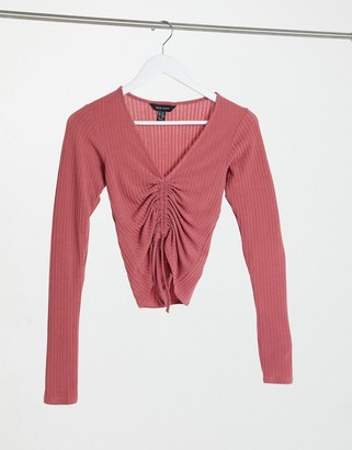 New Look ruched front top in pink