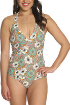 Betty's Beach Bungalow Women's Bikini Bottoms PEACH - Peach Daisy V-Neck Halter Tankini Top & Hipster Bikini Bottoms - Women