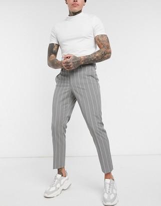 ASOS DESIGN skinny pinstripe smart trouser in grey
