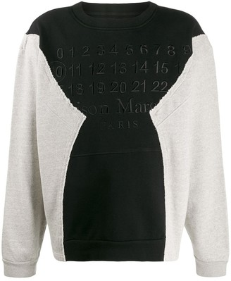 Maison Margiela Deconstructed Paneled Logo Sweatshirt Black/grey