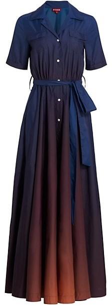STAUD Millie Ombre Maxi Shirtdress