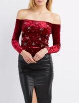 Charlotte Russe Embellished Velvet Off-The-Shoulder Crop Top