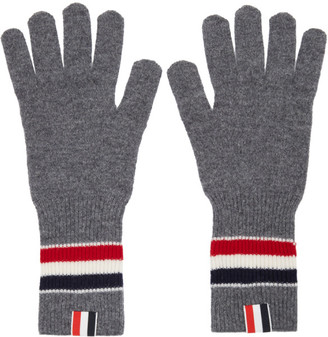 Thom Browne Grey Merino RWB Stripe Gloves