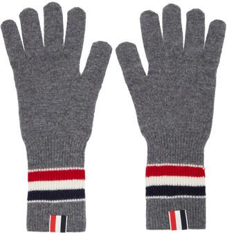Thom Browne Online Exclusive Grey Merino RWB Stripe Gloves