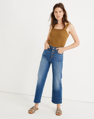 Madewell Petite Slim Wide-Leg Jeans in Olympia Wash: Button-Front Edition