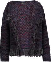 Maje Metallic fringed bouclé-knit cardigan