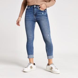 River Island Womens Petite Blue high rise skinny jeans