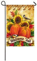 """Evergreen Sublimated Suede """"Welcome Fall"""" Pumpkin Indoor / Outdoor Garden Flag"""