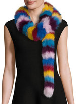 Jocelyn Fox Fur Scarf, Multicolor