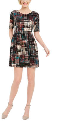 Connected Petite Plaid Fit & Flare Dress