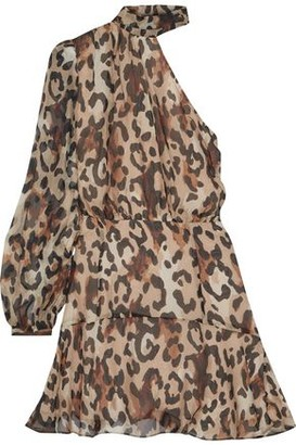 Rachel Zoe Fergie One-shoulder Gathered Leopard-print Chiffon Mini Dress