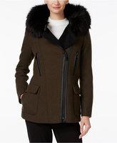 Calvin Klein Faux-Fur-Trim Hooded Walker Coat