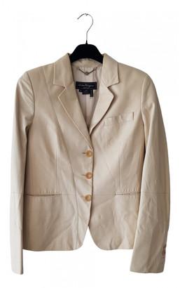 Salvatore Ferragamo Ecru Leather Jackets