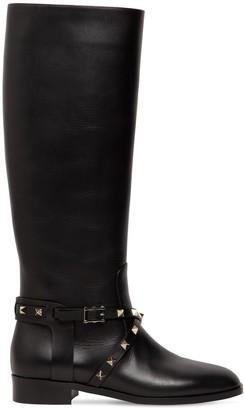 Valentino 25mm Rockstud Tall Leather Boots