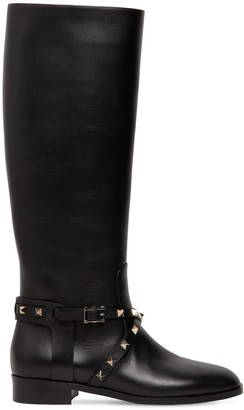Valentino 25MM ROCKSTUD TALL LEATHER BOOTS