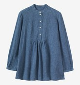 Toast Stripe Linen Gathered Panel Shirt