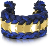 Aurelie Bidermann Copacabana Navy and Black Cotton Double Bracelet