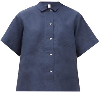 Rossell England - Mother-of-pearl Buttoned Linen Pyjama Shirt - Navy