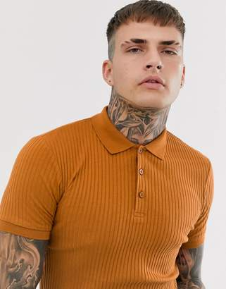 Asos Design DESIGN muscle fit polo in rib in orange-Brown