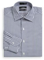 Saks Fifth Avenue BLACK Slim-Fit Small Plaid Cotton Dress Shirt