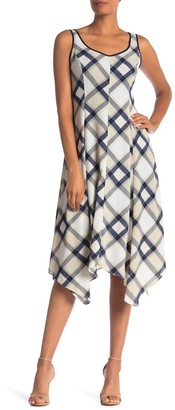 Jones New York Sleeveless Plaid Handkerchief Dress